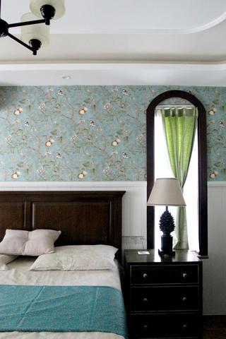 美式风格三居卧室背景墙图片