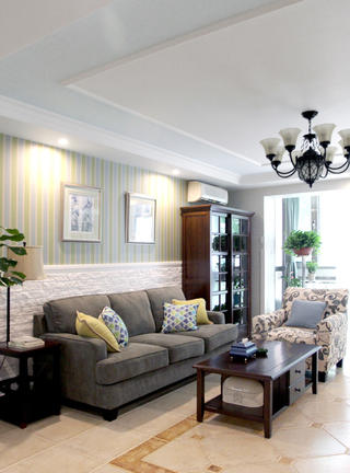 美式风格三居设计沙发背景墙图片