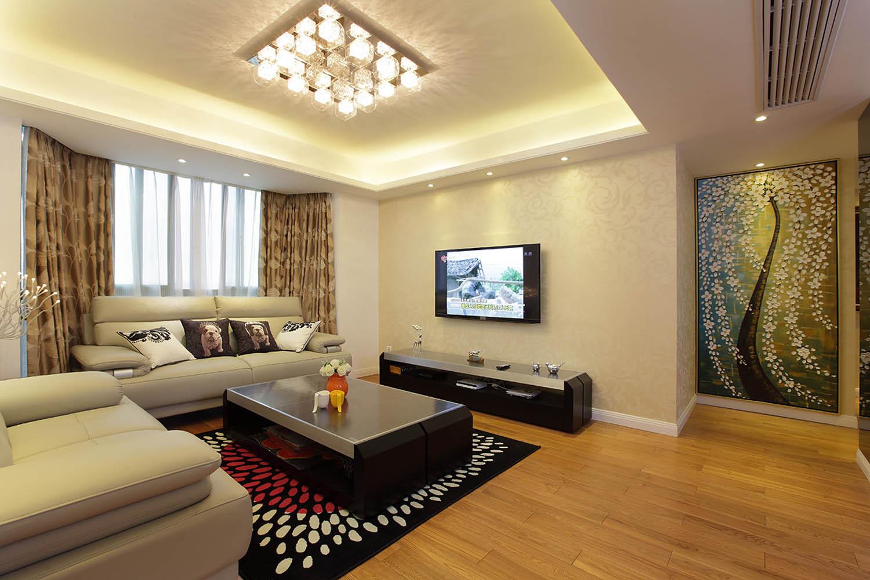 简约风格三居装修电视背景墙图片