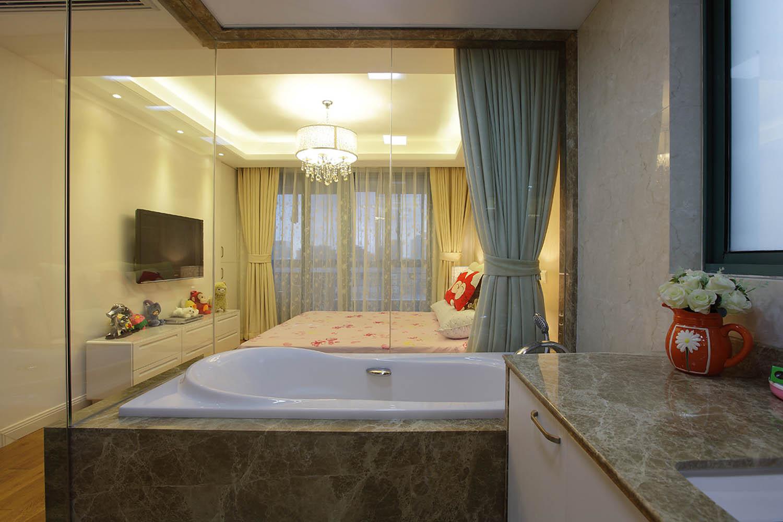 简约风格三居装修浴缸图片