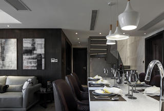 简约复式装修餐厅吊灯图片
