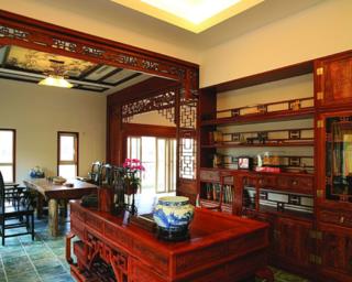 中式别墅装修书房效果图