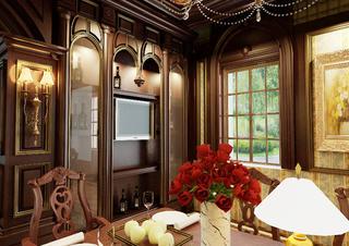 美式风格别墅装修餐厅一角