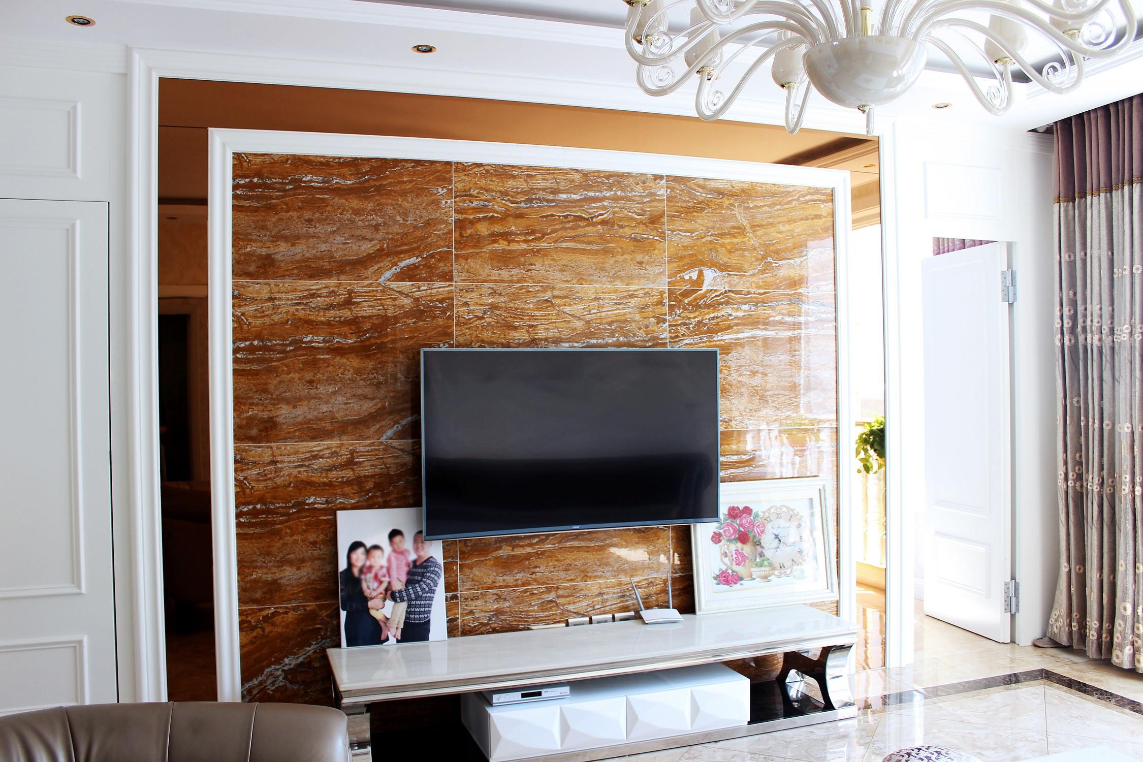 欧式风格装修电视背景墙图片