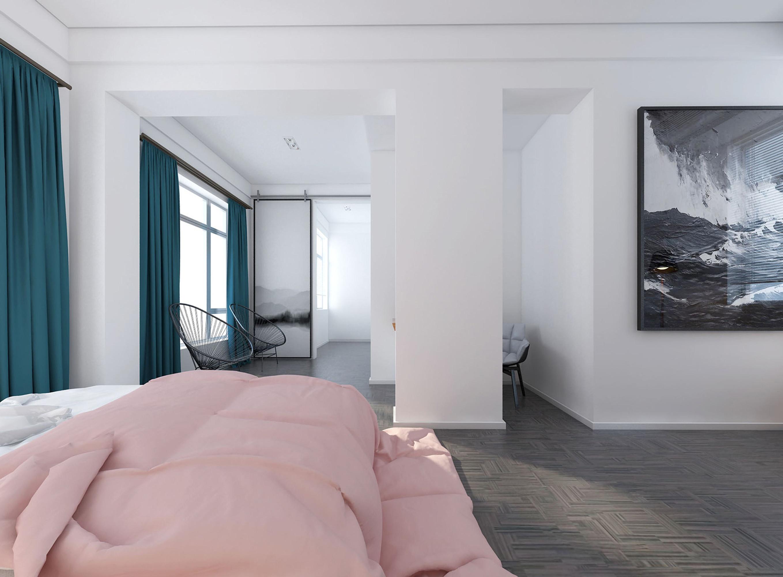 混搭别墅装修床上用品图片