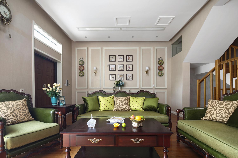 美式风格别墅装修沙发背景墙图片