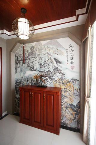 中式风装修玄关柜图片