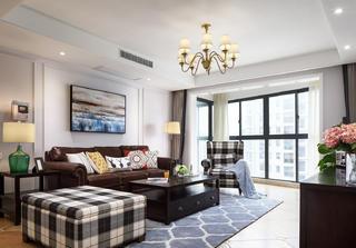 145㎡美式四居室装修客厅效果图