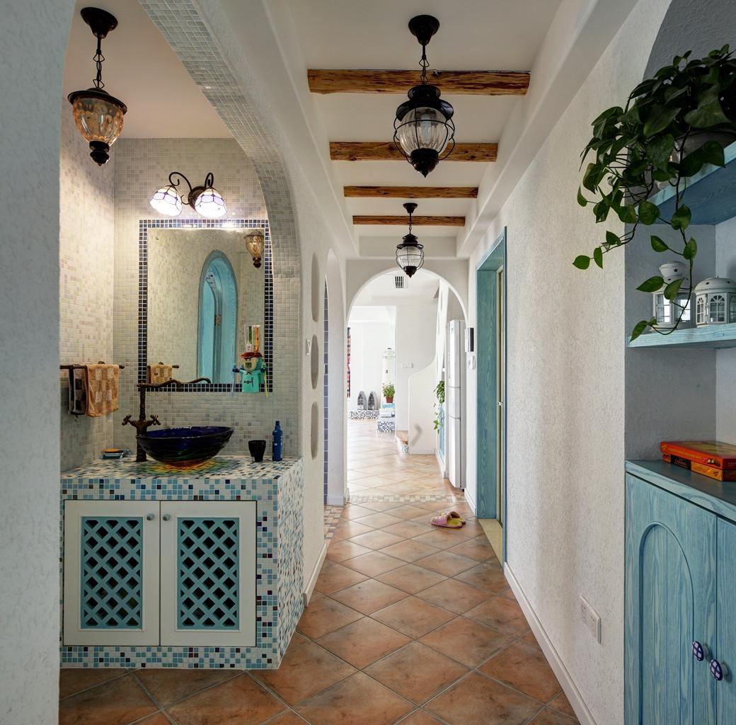 地中海风格复式装修洗手台图片