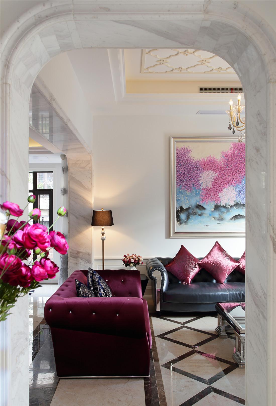 新古典风格别墅装修沙发背景墙图片