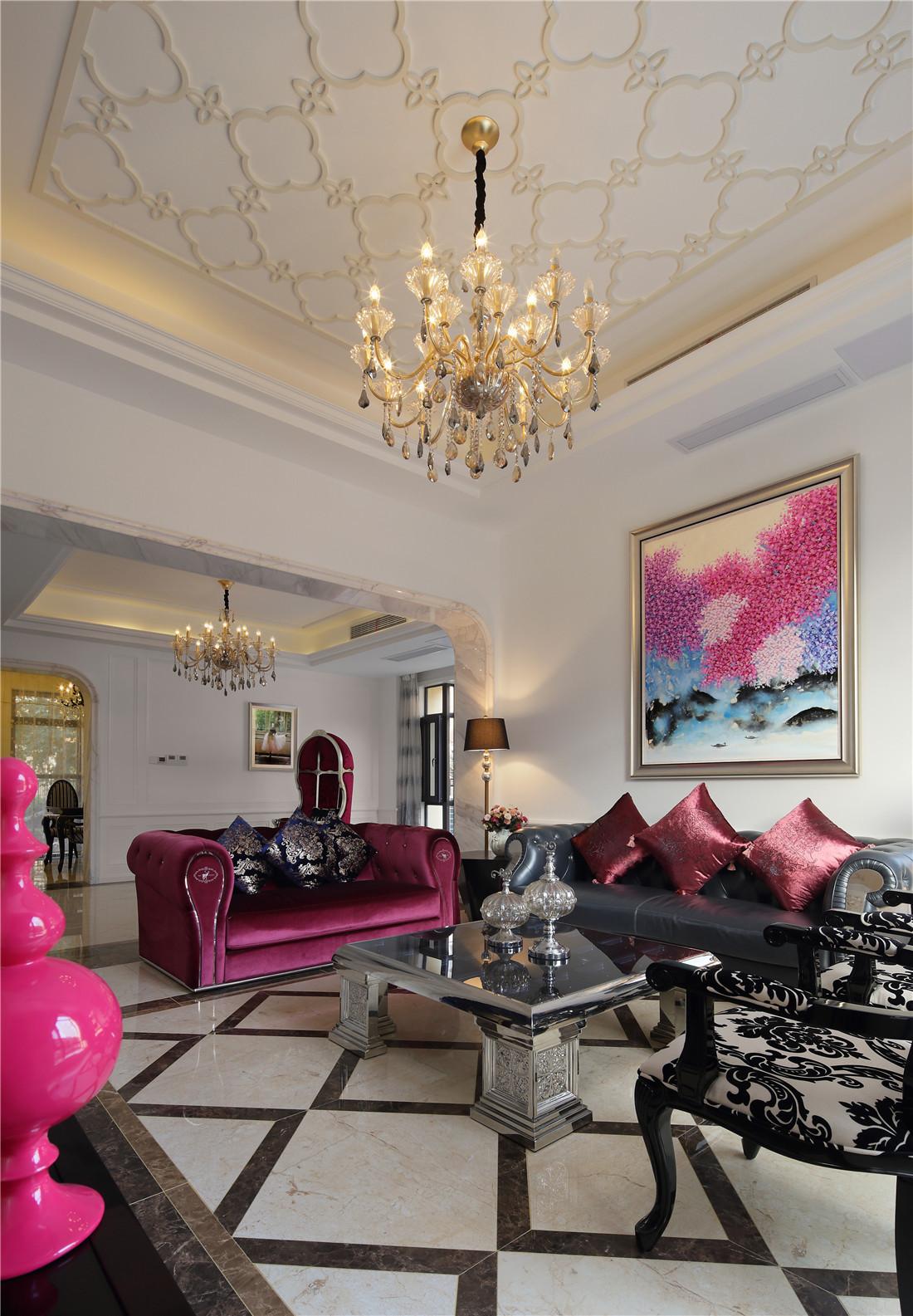 新古典风格别墅装修客厅顶面造型图