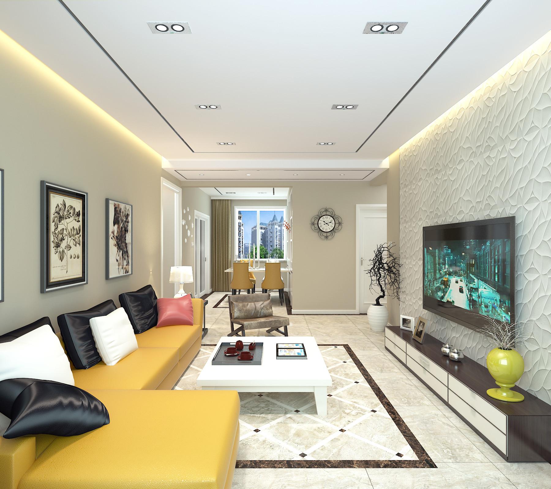 110平时尚现代风装修客厅效果图