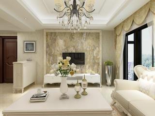 欧式三居装修电视背景墙图片