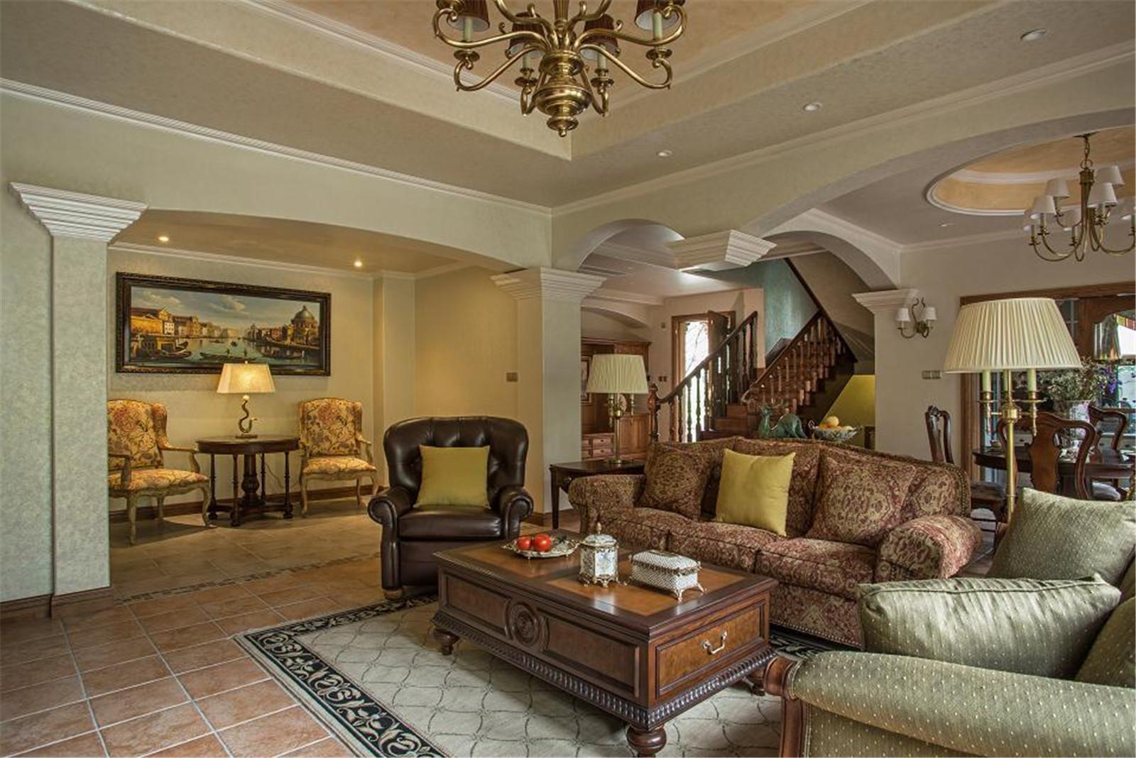 美式乡村别墅设计客厅休闲一角