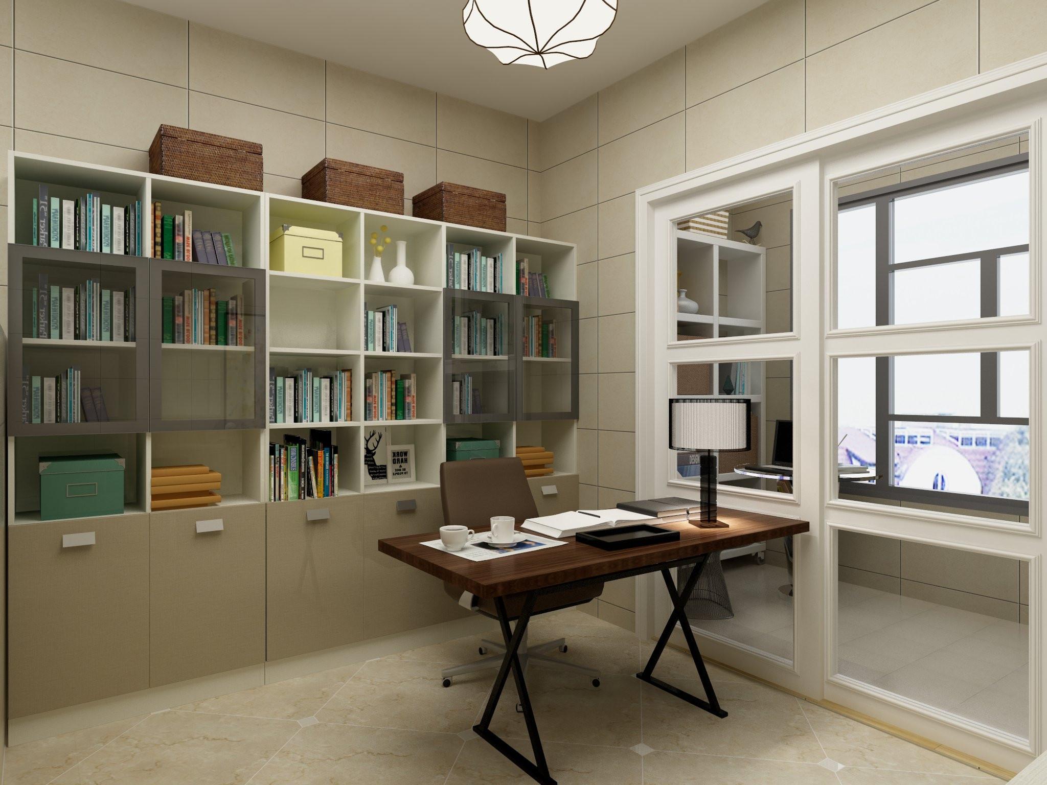 60平简约装修书房效果图