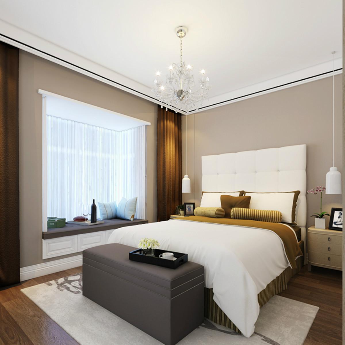 现代简约三居室装修卧室效果图