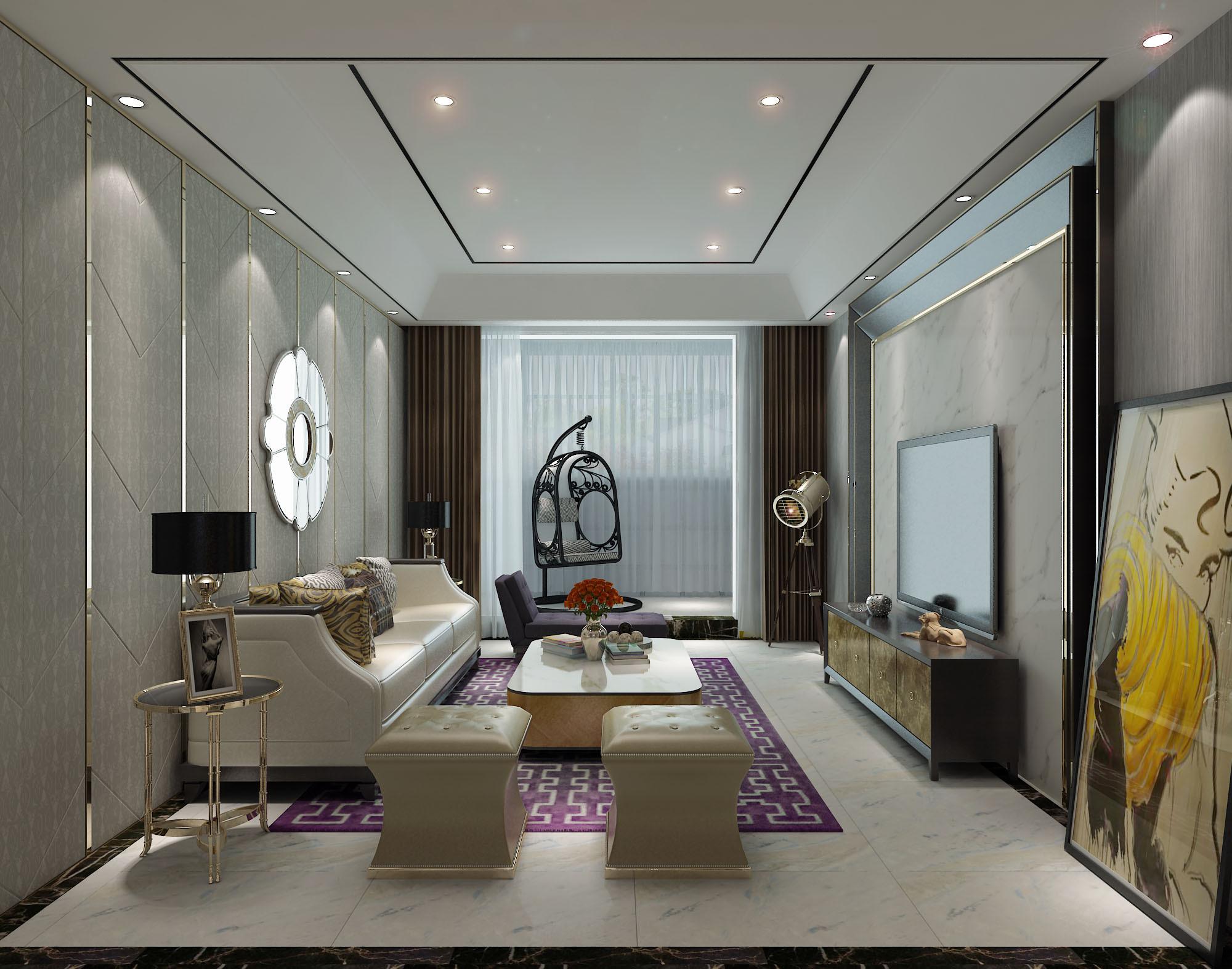 90㎡现代简约二居装修客厅效果图