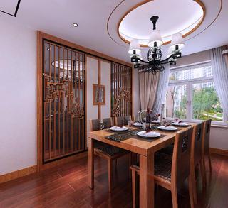 新中式装修餐厅背景墙图片