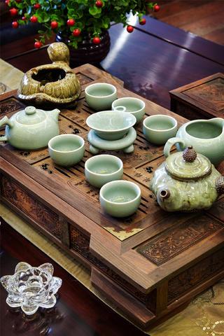 中式样板间装修茶几特写