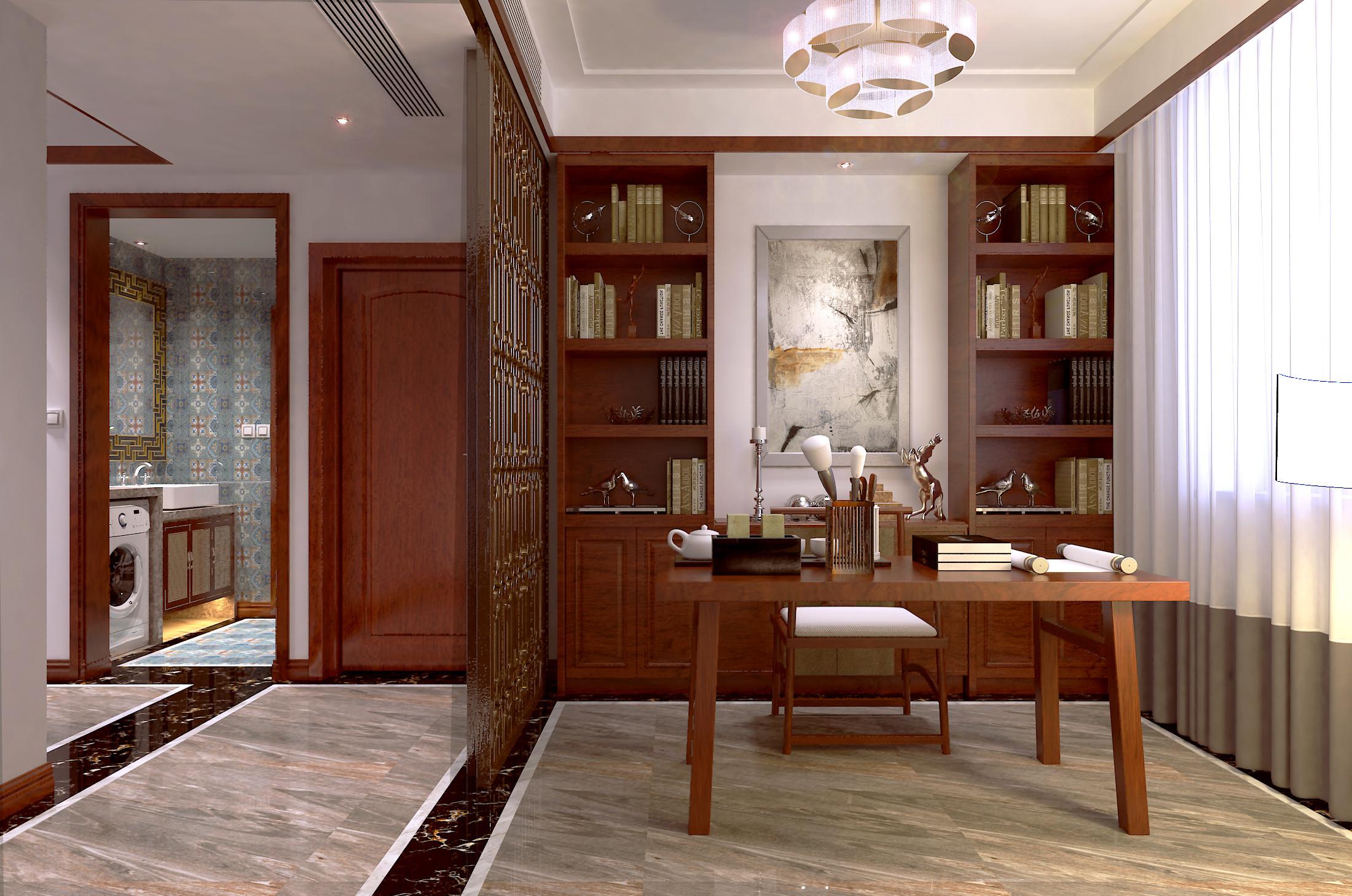 178平简约新中式装修书房效果图