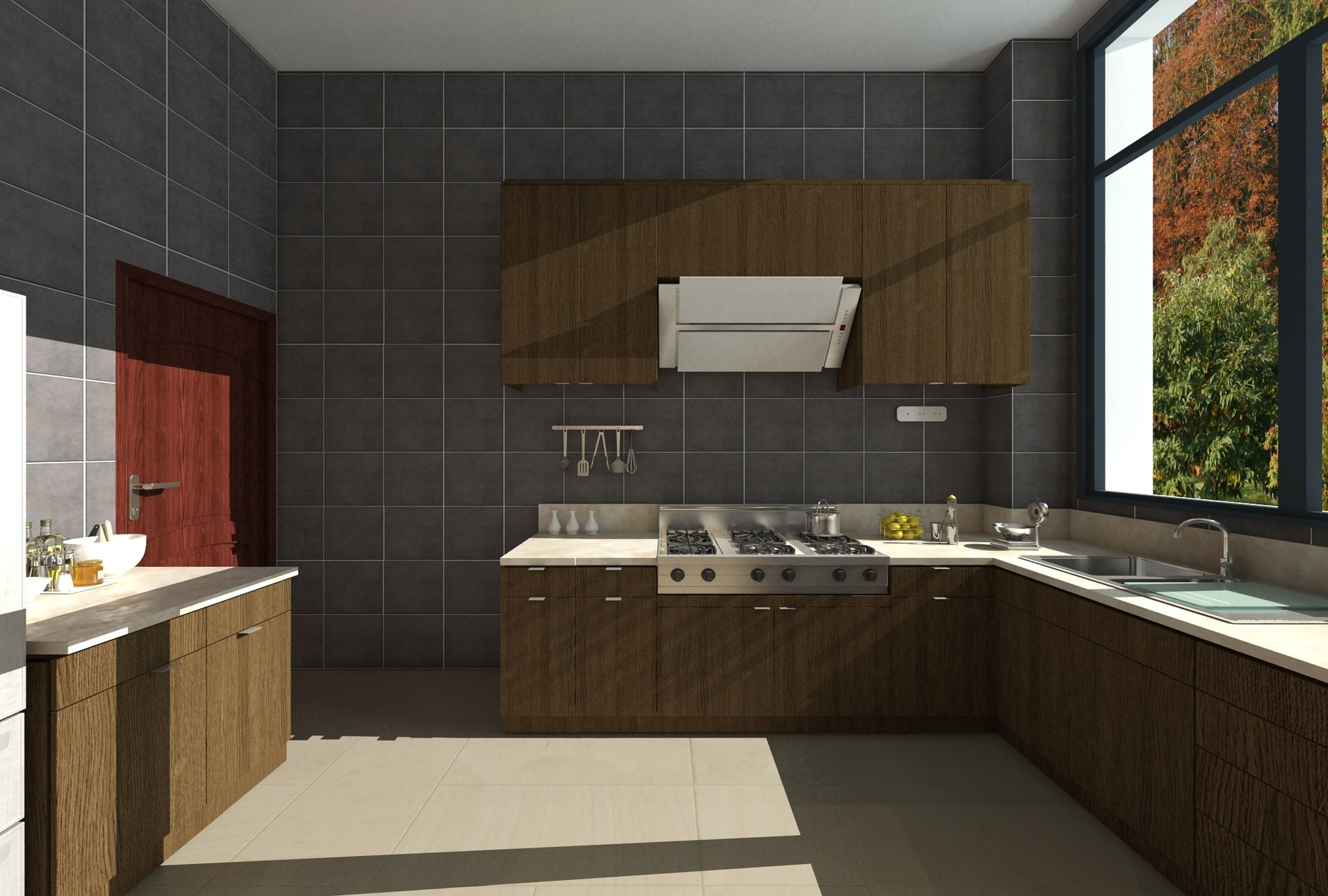 中式别墅装修厨房效果图