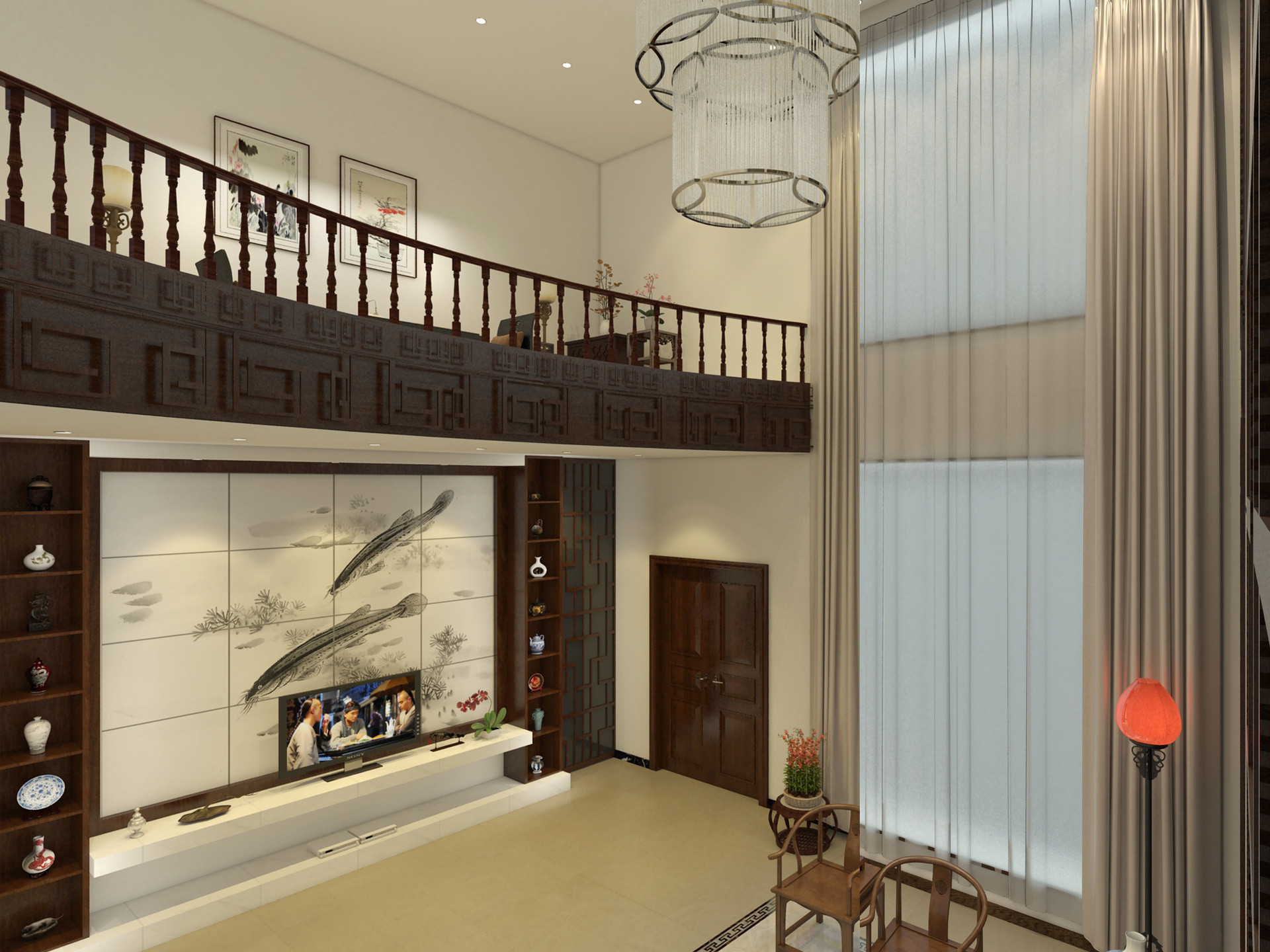 中式别墅装修电视背景墙图片