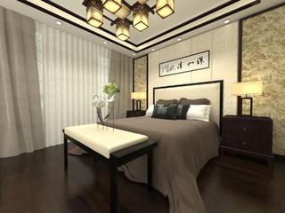 中式别墅装修床上用品图片