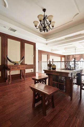 美式复式装修茶室布置图