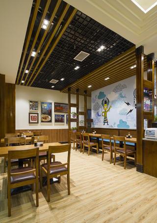 90平快餐厅装修照片墙