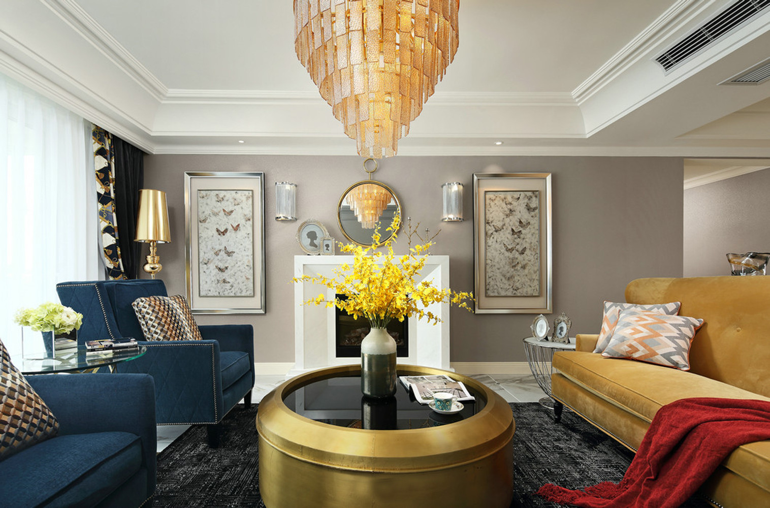 190平美式装修客厅设计图