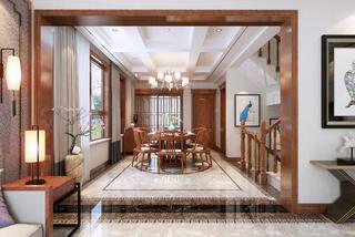 新中式豪华别墅装修餐厅效果图