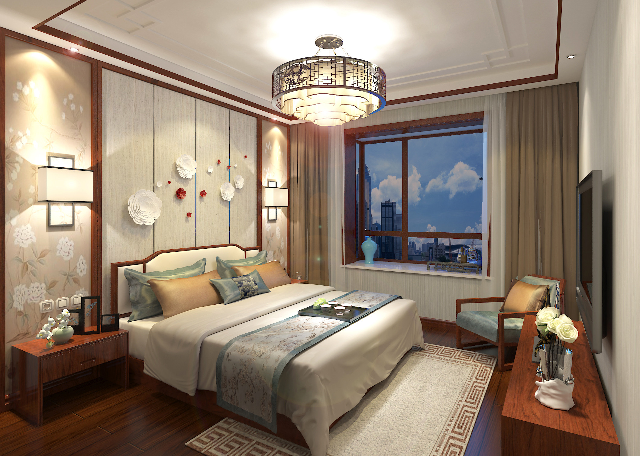 178平简约新中式装修卧室效果图