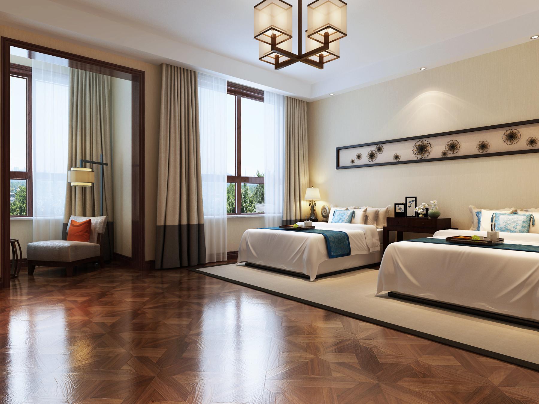 新中式豪华别墅装修老人房设计图