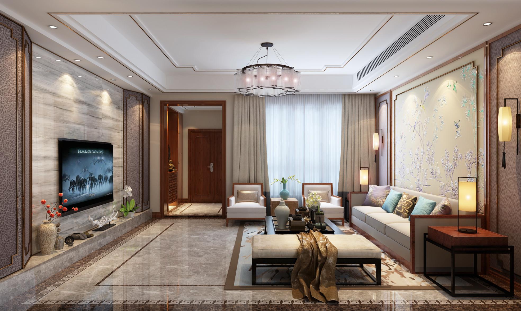 新中式豪华别墅装修客厅效果图