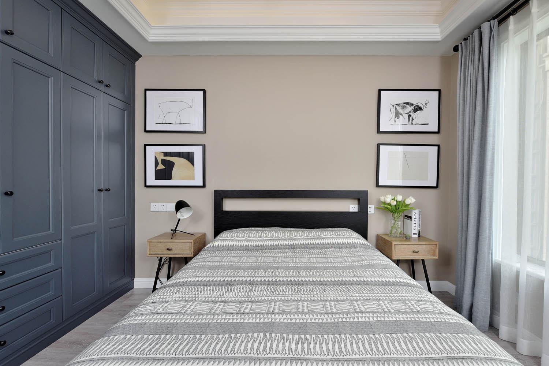 美式公寓装修卧室背景墙图片