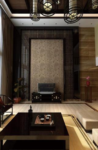 中式別墅裝修電視背景墻圖片