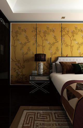 中式别墅装修床头背景墙图片