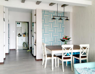 80平二居室设计餐厅背景墙图片