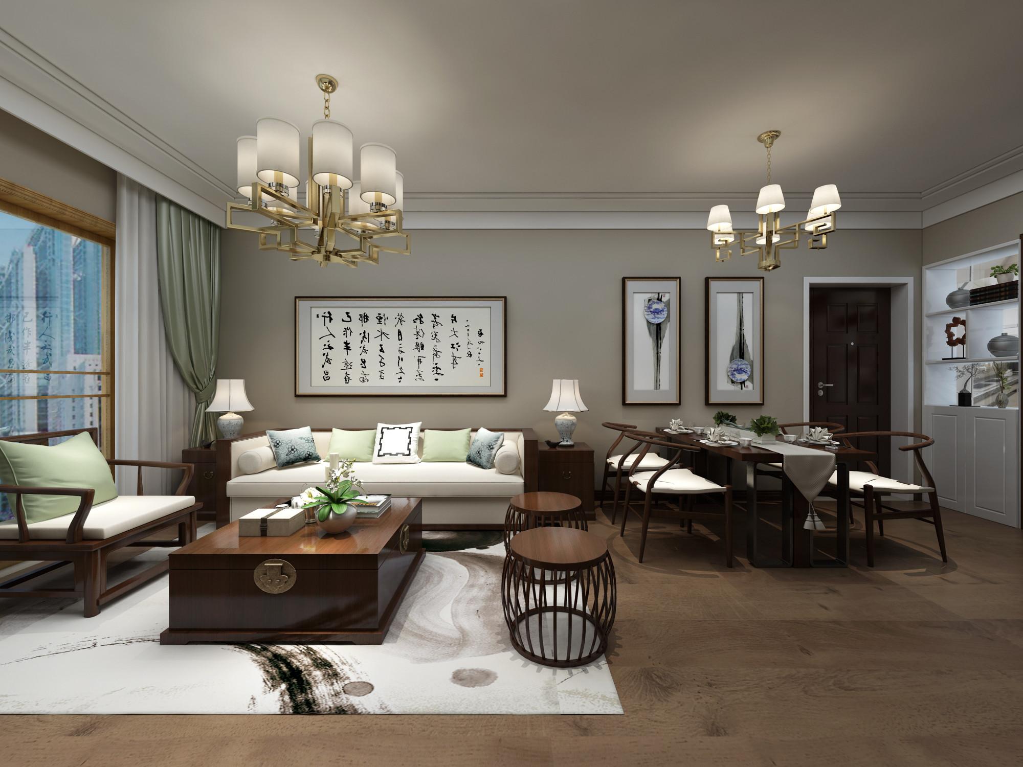 新中式装修沙发背景墙图片