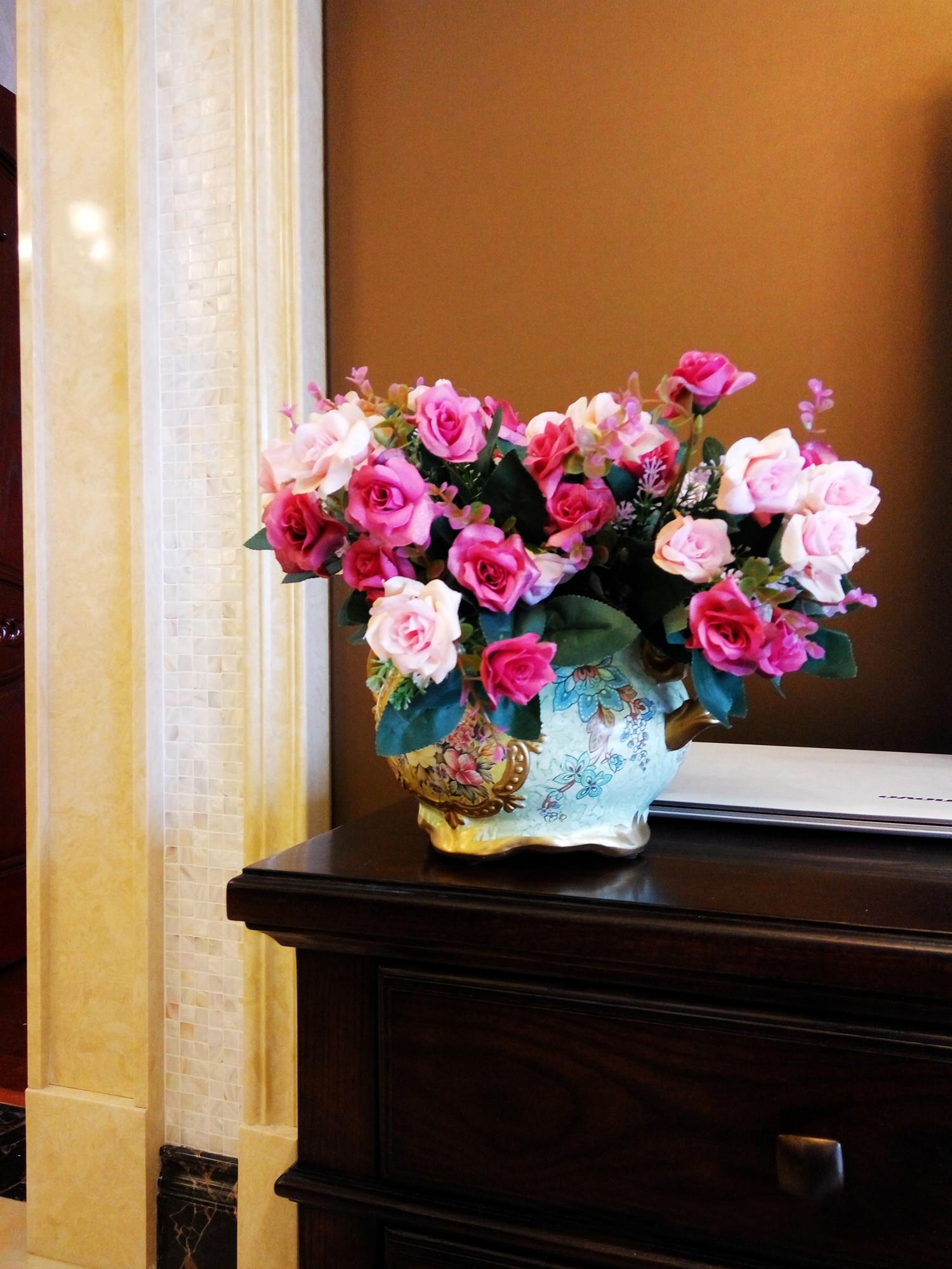 140平混搭风格装修花瓶图片