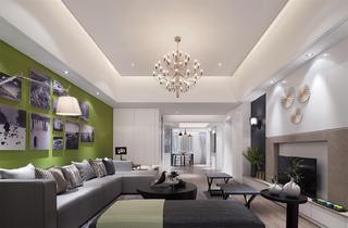 现代简约三居客厅吊顶设计