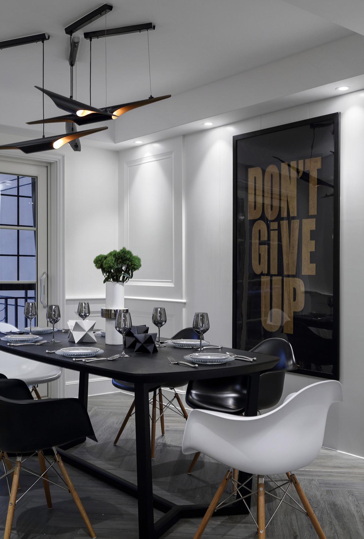 220平现代美式家餐厅背景墙图片