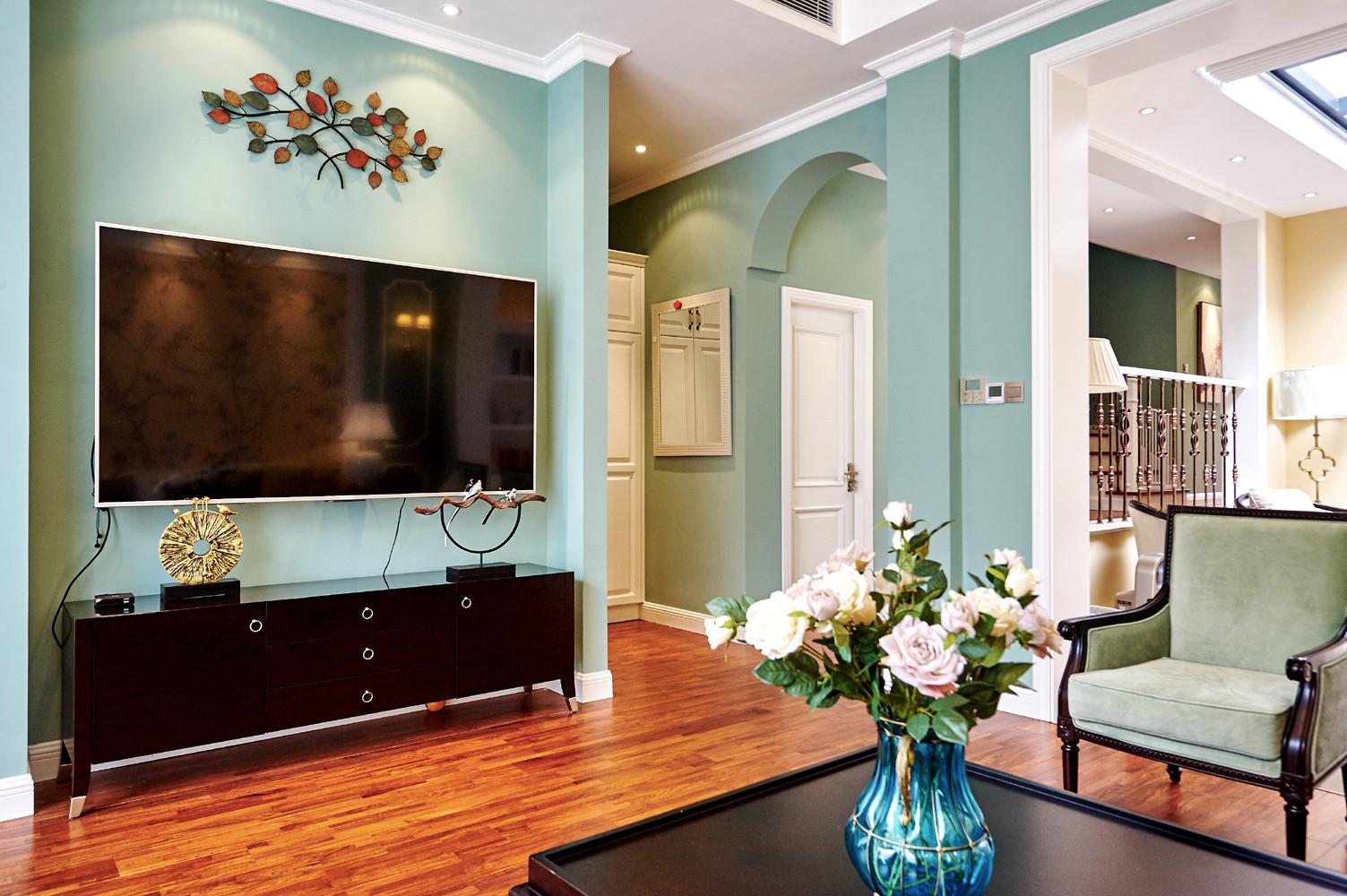 美式别墅装修电视背景墙图片