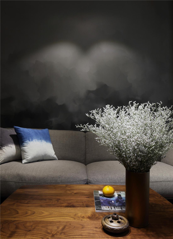 复式简约装修沙发背景墙图片