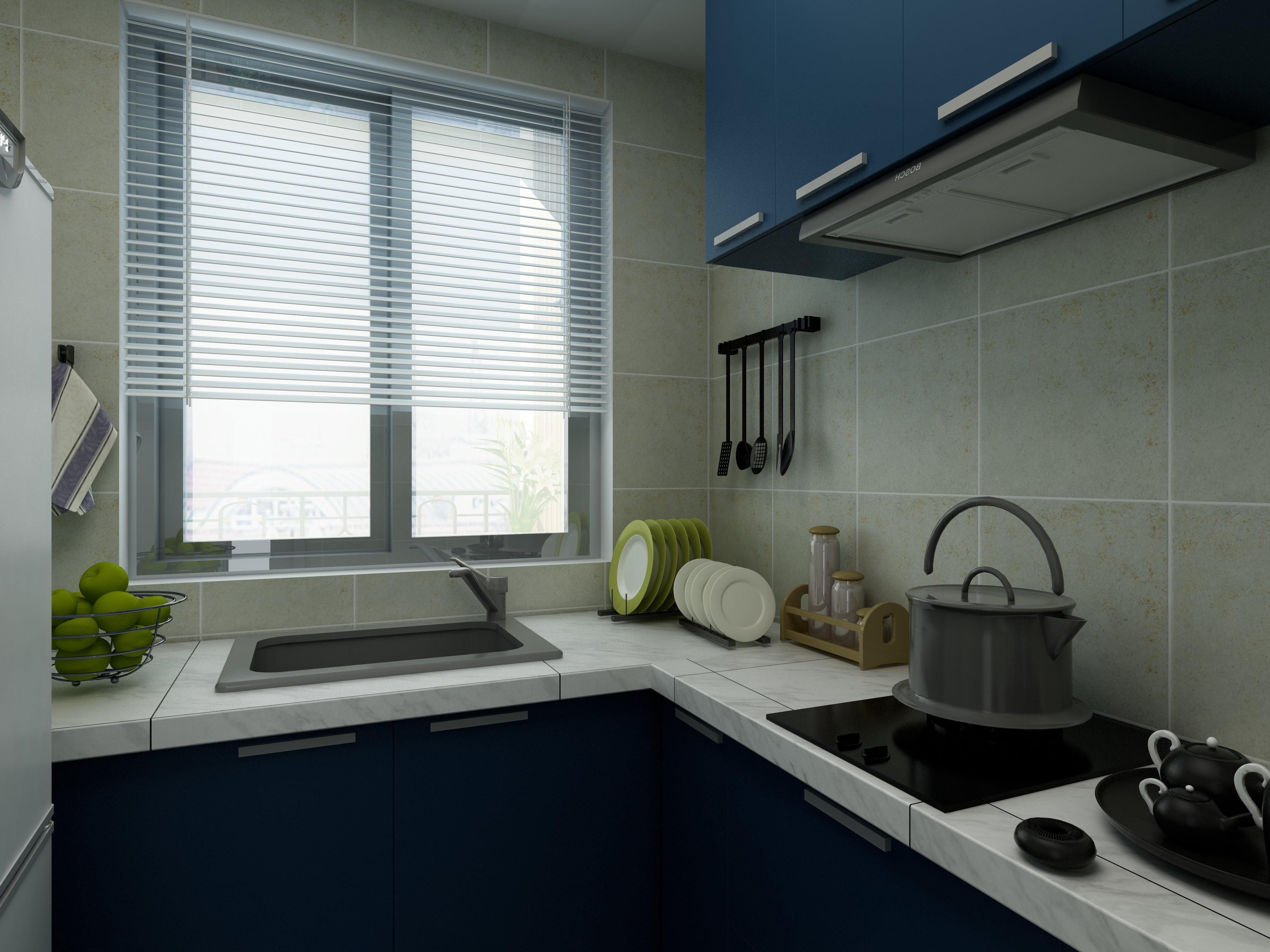 100㎡三居装修厨房设计图