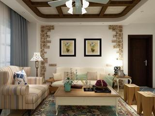 100㎡三居装修沙发背景墙图片