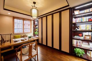 中式三居装修书架图片
