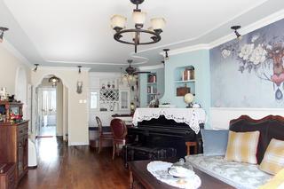 美式风格二居装修客厅布置图