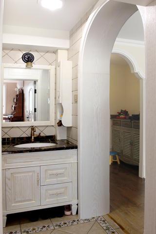 美式风格二居装修洗手台图片