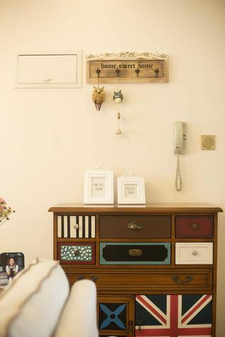 100平美式二居装修玄关柜图片